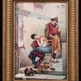 Картина маслом Пара влюбленных, Германия, 1956 г.