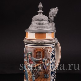 Антикварная пивная кружка Первый глоток, J.W. Remy, Германия, 1890-1915 гг.