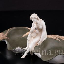 Фарфоровая композиция Девушка у пруда, Volkstedt, Германия, кон.19 в.